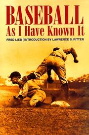 Baseball as I have known it by Fred Lieb