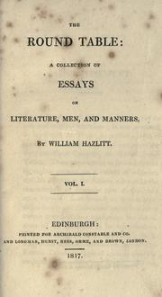 Cover of: The Round table by Hazlitt, William