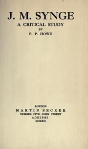 J.M. Synge, a critical study by P. P. Howe