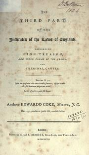Cover of: Institutes of the laws of England by Coke, Edward Sir