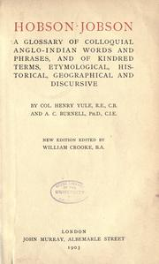 Hobson-Jobson by Yule, Henry Sir