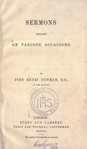 Sermons preached on various occasions by John Henry Newman