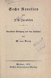 Sech s Novellen by J. P. Jacobsen