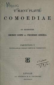 Cover of: Comoediae by Titus Maccius Plautus