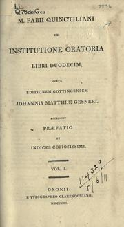 De institutione oratoria by Quintilian.