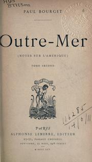 Outre-mer by Paul Bourget