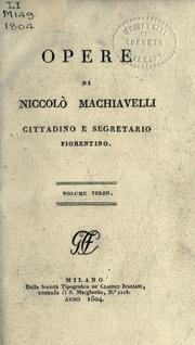 Opere by Niccolò Machiavelli