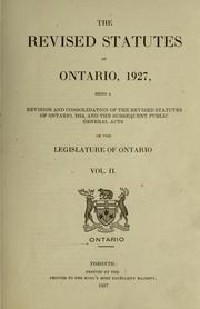 Laws, etc. (Revised statutes of Ontario, 1927) by Ontario.