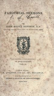 Cover of: Parochial sermons by John Henry Newman