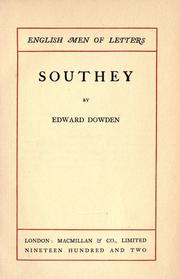Cover of: Southey by Dowden, Edward