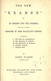 "The new ""Examen"" by Paget, John"