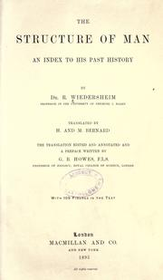 Cover of: The structure of man an index to his past history by Robert Wiedersheim