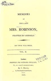 Memoirs of the late Mrs. Robinson by Robinson, Mary
