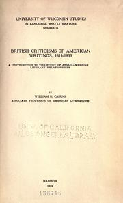British criticisms of American writings, 1815-1833 by Cairns, William B.