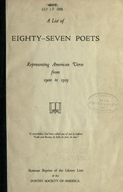 A list of eighty-seven poets representing American verse from 1900 to 1919 PDF