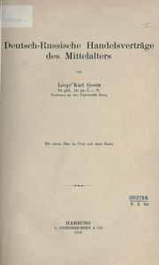 Deutsch-russische Handelsvertrge des Mittelalters by Leopold Karl Goetz