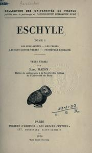 Cover of: Eschyle, texte établi par Paul Mazon by Aeschylus