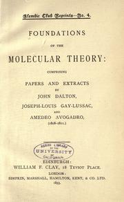 Foundations of the molecular theory by Dalton, John