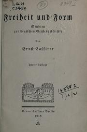 Freiheit und Form by Ernst Cassirer