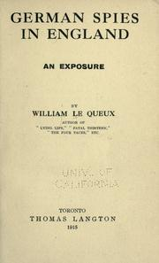 German spies in England by William Le Queux