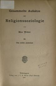 Gesammelte Aufstze zur Religionssoziologie by Max Weber