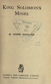 King Solomon&#39;s mines by H. Rider Haggard