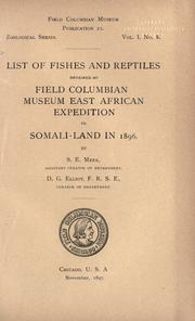 List of fishes and reptiles obtained by Field Columbian Museum East African expedition to Somali-land in 1896 PDF