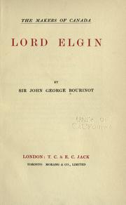 Lord Elgin by Bourinot, John George Sir
