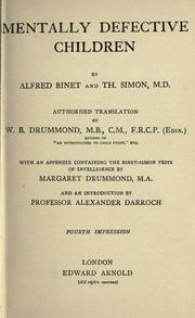 Mentally Defective Children by Alfred Binet, Théodore Simon