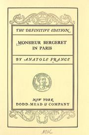Monsieur Bergeret in Paris by Anatole France