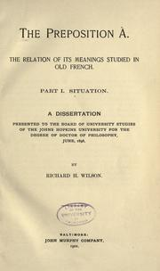 The preposition à by Richard Henry Wilson