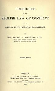 Principles of the English law of contract by Anson, William Reynell Sir