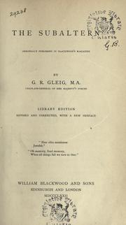 The subaltern by G. R. Gleig