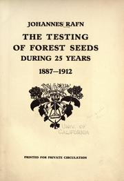 The testing of forest seeds during 25 years, 1887-1912 PDF