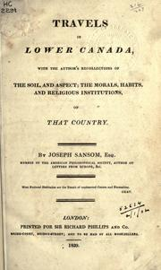 Sketches of lower Canada, historical and descriptive by Joseph Sansom