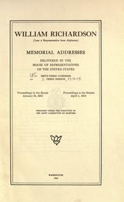Cover of: William Richardson (late a representative from Alabama) by U. S. Congress