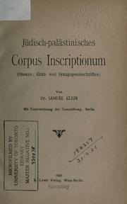 Jdisch-palstinisches Corpus Inscriptionum by Klein, Samuel