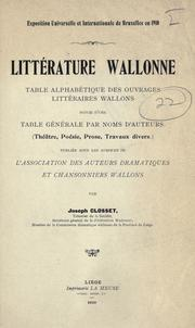 Littérature wallonne by Joseph Closset
