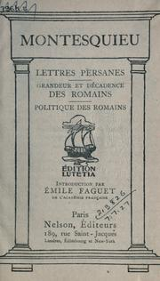 Lettres persanes by Montesquieu, Charles de Secondat baron de