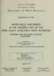 Water wells and springs in the western part of the Upper Santa Margarita River watershed, Riverside and San Diego counties, California PDF