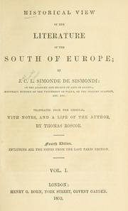 Historical view of the literature of the south of Europe by J.-C.-L. Simonde de Sismondi