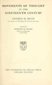 Movements of thought in the nineteenth century by George Herbert Mead