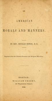 On American morals and manners PDF