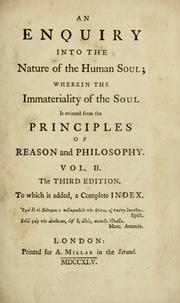 An enquiry into the nature of the human soul by Andrew Baxter