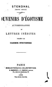 Cover of: Souvenirs d&#39;egotisme by Stendhal