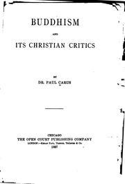 Buddhism and its Christian critics PDF