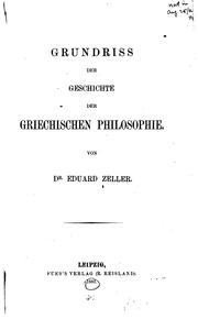 Grundriss der Geschichte der griechischen Philosophie by Eduard Zeller
