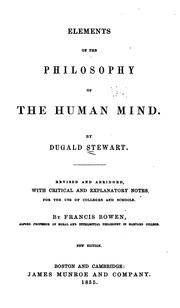 Elements of the philosophy of the human mind by Dugald Stewart