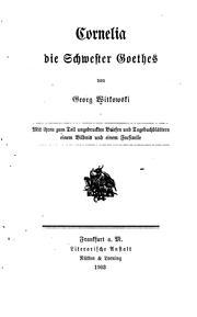 Cornelia, die Schwester Goethes PDF