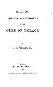 Studies literary and historical in the odes of Horace by A. W. Verrall